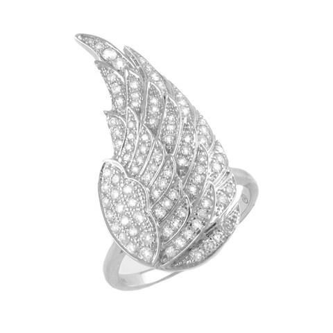 14K White Gold 1ct TDW Diamond Fashion Angel Wing Ring