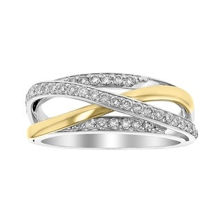 14K Two Tone Gold 1 2ct Diamond Wrap Ring White