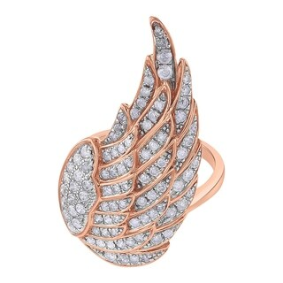 14K Rose Gold 1ct TDW Diamond Fashion Angel Wing Ring - White (More options available)
