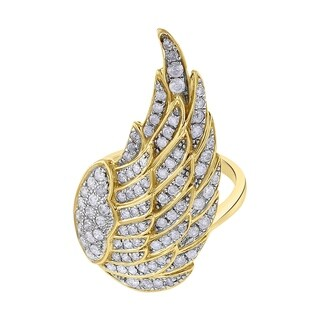 14K Yellow Gold 1ct TDW Diamond Fashion Angel Wing Ring - White