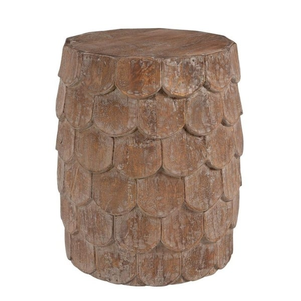 Handmade Scales Weathered Wood Side Table (India)