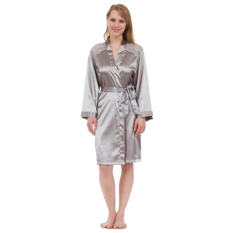 Leisureland Lace Yoke Satin Knee-Length Robe