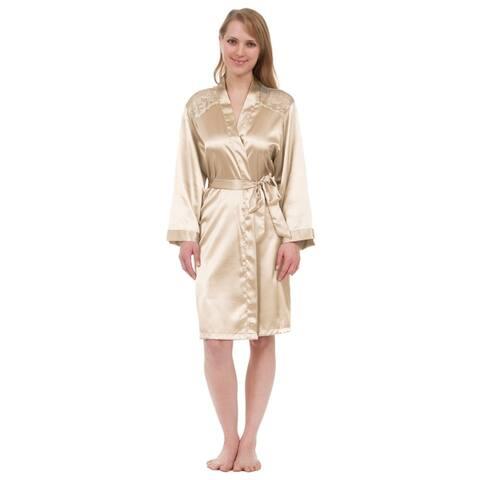 Leisureland Lace Yoke Satin Knee-Length Robe