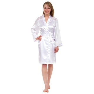 Leisureland Lace Yoke Satin Knee-Length Robe (3 options available)