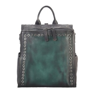 Diophy Genuine Leather Circular Stud Edging Medium Backpack