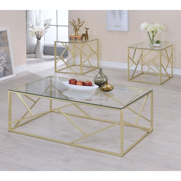 shop furniture of america enderin contemporary 3 piece glass coffee table set on sale free. Black Bedroom Furniture Sets. Home Design Ideas