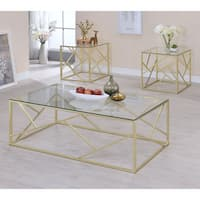 Furniture of America Enderin Contemporary Metal/Tempered Glass 3-piece Accent Table Set