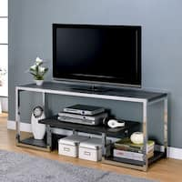 Furniture of America Lampon Contemporary Grey/Chrome Metal 3-shelf TV Stand