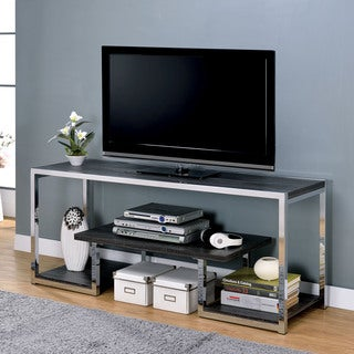 Furniture of America Lampon Contemporary Grey/Chrome Metal 3-shelf TV Stand