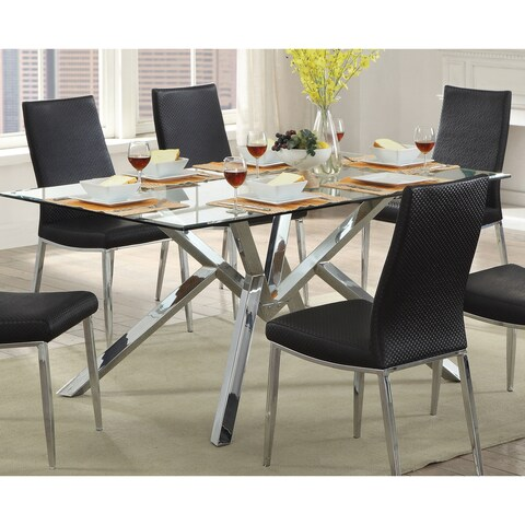 Furniture of America Casey Contemporary Chrome Dining Table - N/A