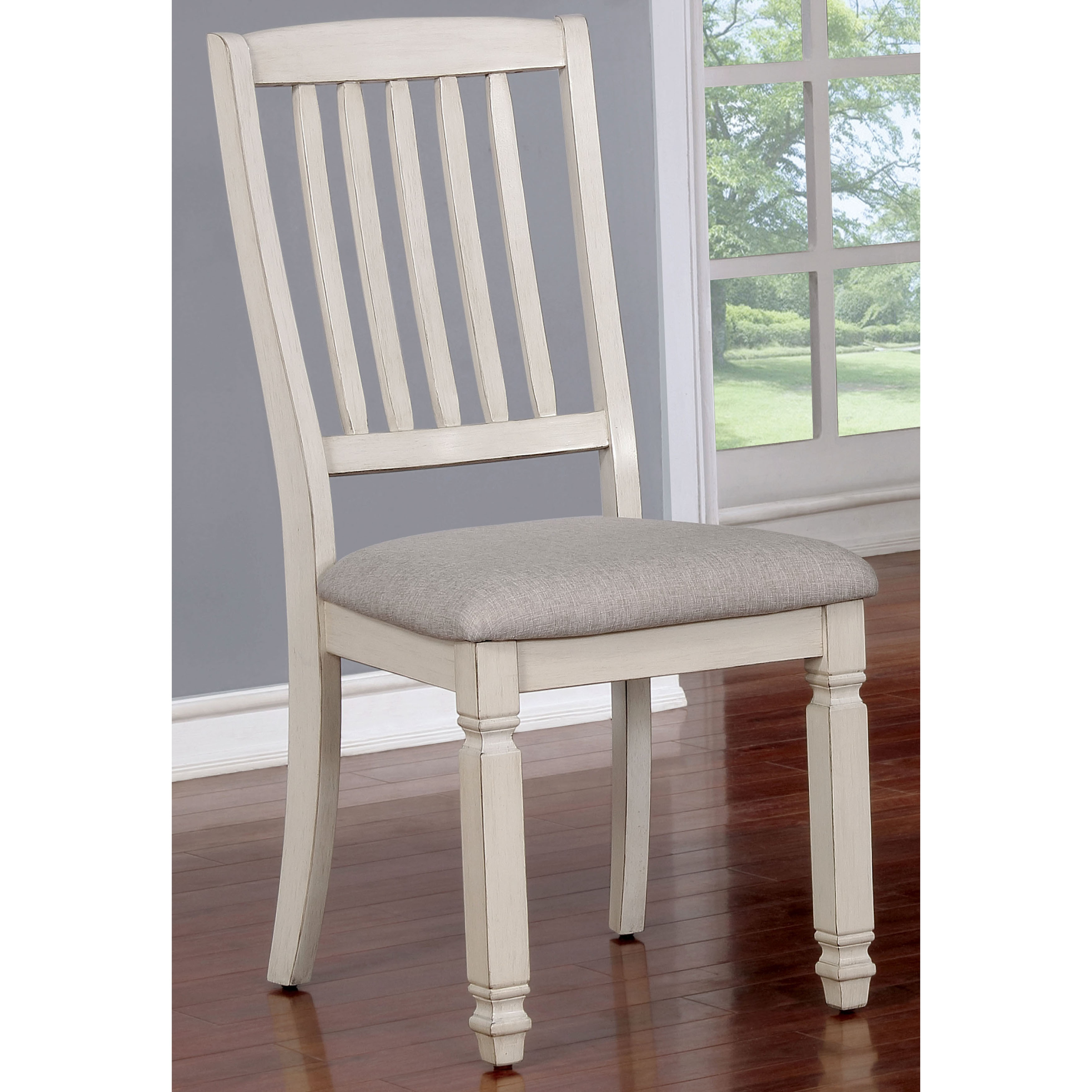 Furniture of America Keer Country White Fabric Dining Chairs Set of 2