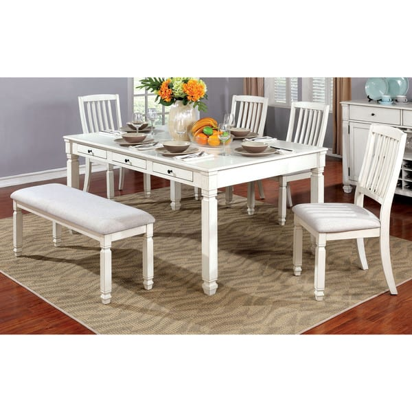 Shop Furniture of America Keer Country White Fabric Dining ...