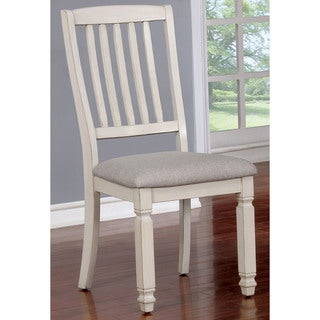 Seren Country Antique White Dining Chairs (Set of 2) by FOA