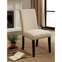 """Furniture of America Simmerton Transitional Upholstered Dining Chair (Set of 2) - 19""""W X 25 1/2""""D X 38""""H"""