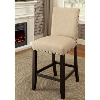 Furniture of America Simmerton Transitional Cream Beige Walnut Wood Foam Upholstered Counter-height Chairs (Set of 2)