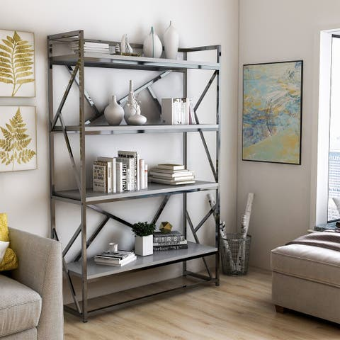 Furniture of America Kosh Modern Chrome Metal 4-shelf Bookcase