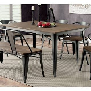 Furniture Of America Tripton Industrial Grey Wood Metal 60 Inch Dining Table