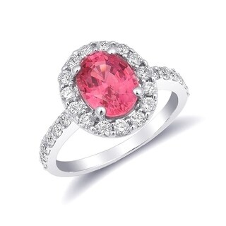 14k White Gold 3.09ct TGW Tanzanian Spinel and Diamond Engagement Ring