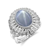 14k White Gold 10.47ct TGW Blue-Gray Star Sapphire and Diamond Cocktail Ring