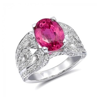 14k White Gold 5.16ct TGW Certified Pink Sapphire and Diamond One-of-a-Kind Statement Ring