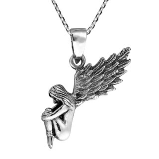 Mythical Lonely Fairy Princess .925 Sterling Silver Pendant (Thailand)