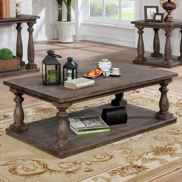 Perfect Furniture Of America Jessa Rustic Country Style Open 54 Inch Coffee Table