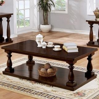 Best Master Furniture Oak Finish Pinewood Rustic Coffee