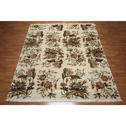 Tibetan Botanical Floral Arts and Crafts Hand-Knotted Wool Area Rug (8' x 10') - Ivory/Black - 8' x 10'