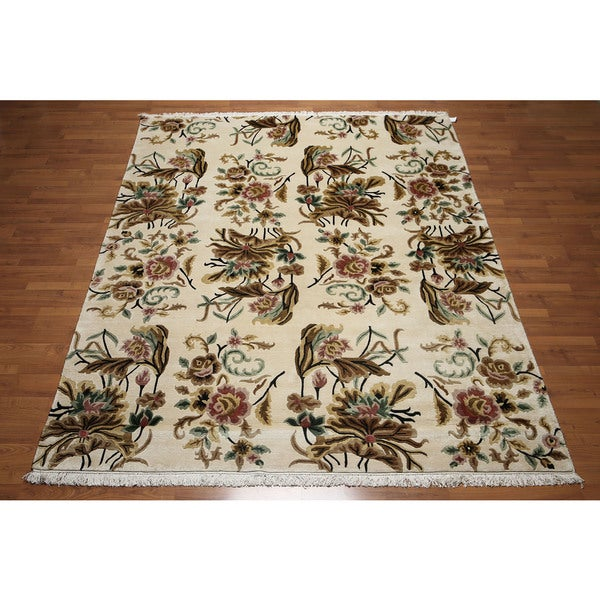 Tibetan Botanical Floral Arts and Crafts Hand-Knotted Wool Area Rug (8' x 10') - multi
