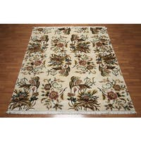 Tibetan Botanical Floral Arts and Crafts Hand-Knotted Wool Area Rug (8' x 10')