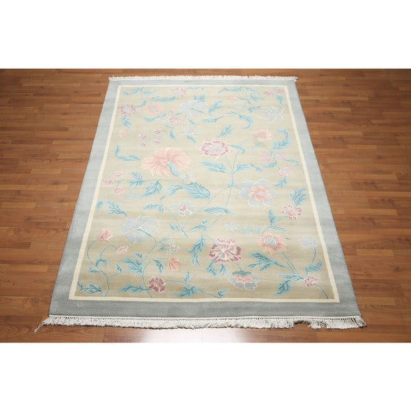 Savonnerie Pure Wool Glam Botanical Thick Pile Area Rug 6 X27