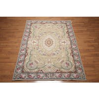 French Country Classic Tan/Multicolor Wool Hand-woven Needlepoint Oriental Area Rug - 6' x 9'