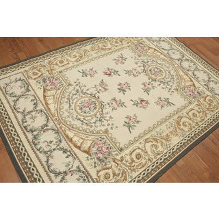Traditional Victorian Aubusson Needlepoint Ornamental Hand-woven Multicolored Wool Indoor Rectangular Area Rug (5' x 7')