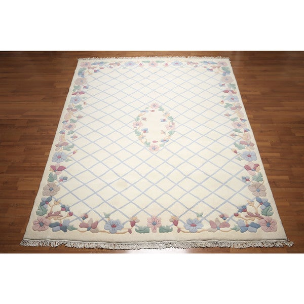 Botanical Trellis Pure Wool Thick Pile French Aubusson Savonnerie Area Rug - 9'x12'