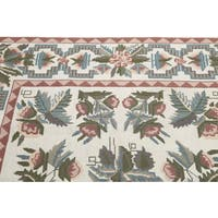 Rustic Country Floral Portuguese Needlepoint Multicolored Wool Hand-woven Area Rug - 6' x 9'