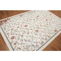 Shabby Chic Floral Chantilly Needlepoint Aubusson Beige Wool Area Rug - 6' x 9'