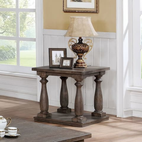 Furniture of America Geln Traditional Solid Wood Open Shelf End Table