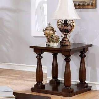 Furniture of America Geln Rustic Solid Wood Open Shelf End Table