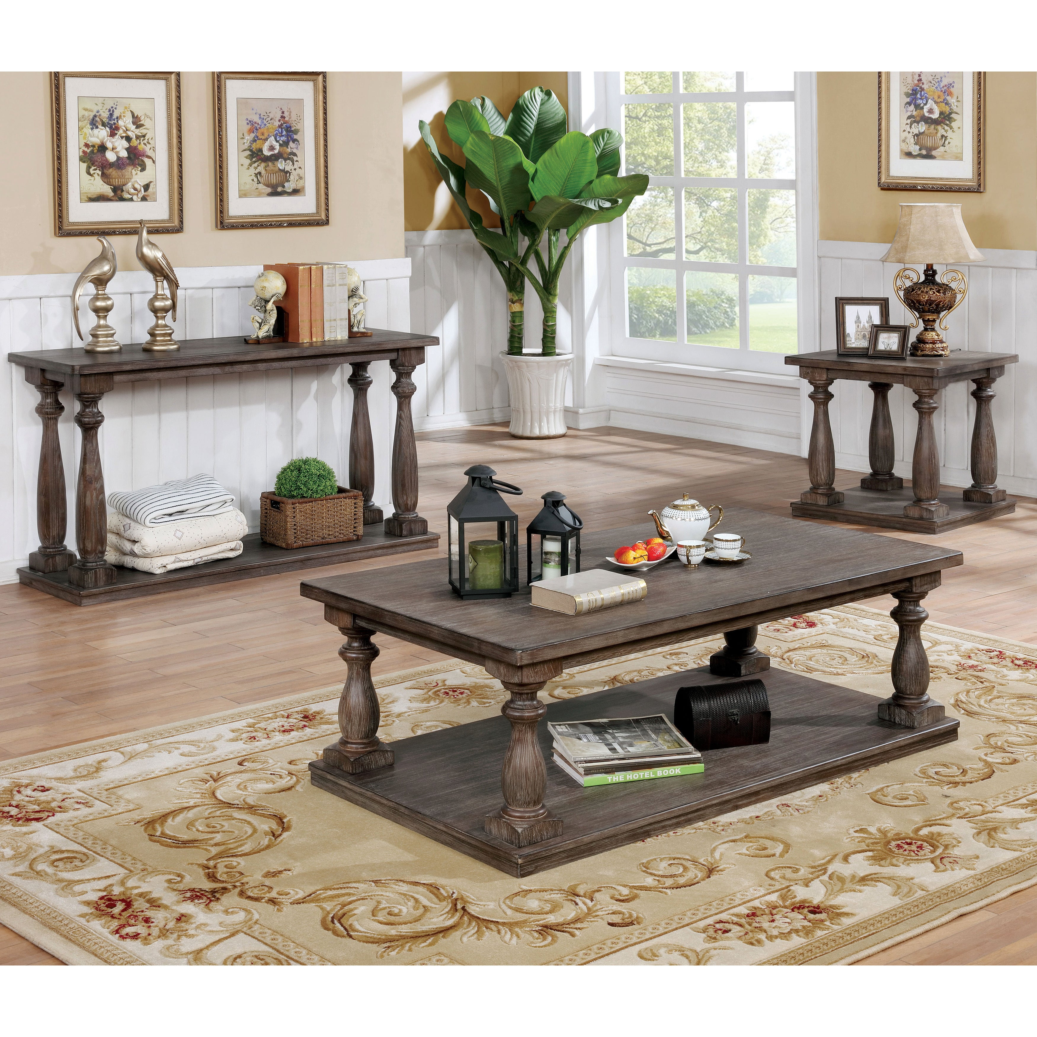 Furniture Of America Jessa Rustic Country Style Open 54 Inch Wood
