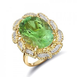 18K Yellow and White Gold 11.71ct TGW Namibian Tourmaline and Diamond One-of-a-Kind Ring