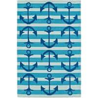 ADDISON Beaches Anchors Away Atlantic Blue/Ivory Area Rug (9'X13')