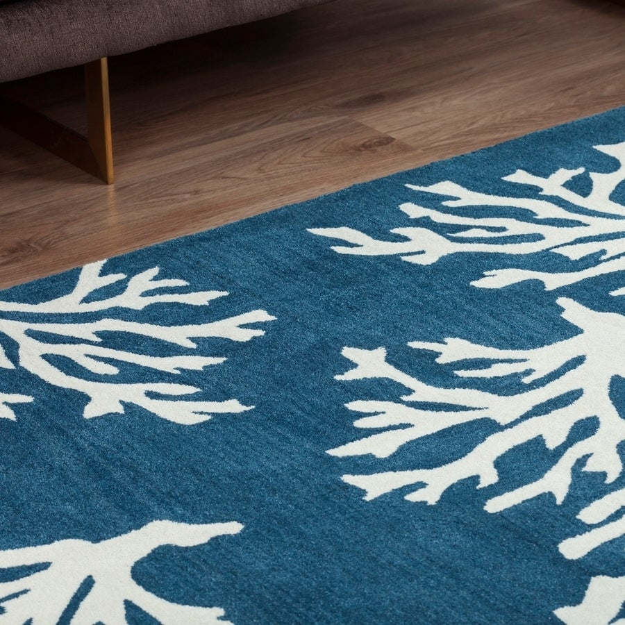 Addison Rugs Beaches Coastal Navy Ivory Coral Pattern Area Rug 8 X 10 8 X10 Overstock 18797635