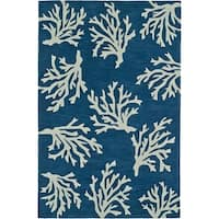 Addison Rugs Beaches Coastal Navy/ Ivory Coral Pattern Area Rug