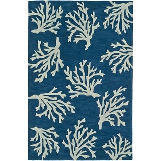 Addison Rugs Beaches Coastal Navy/ Ivory Coral Pattern Area Rug - 8' x 10'