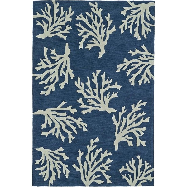 ADDISON Beaches Coastal Coral Navy/Ivory Area Rug (9'X13')