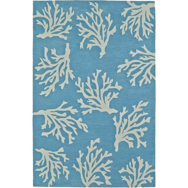 ADDISON Beaches Coastal Coral Pacific Blue/Ivory Area Rug (9'X13')