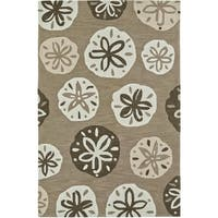 ADDISON Beaches Nautical Sand/Taupe Sand Dollar Area Rug  (9'X13')