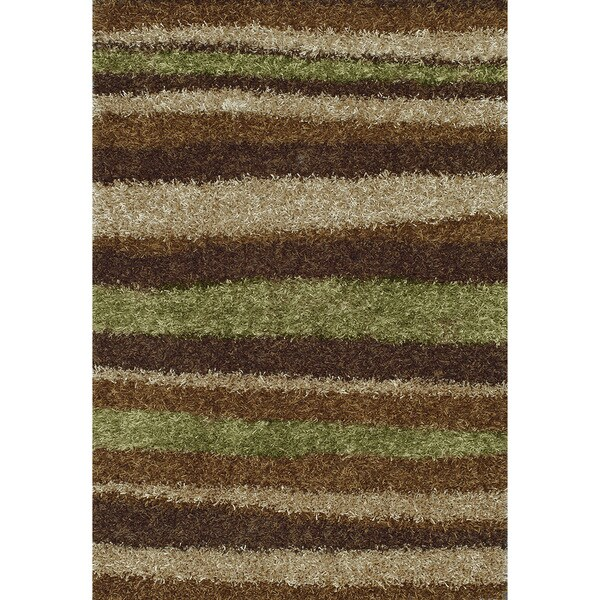 Addison Rugs Miramar Collection Modern Stripe Brown Green Ivory Fabric Cotton Indoor