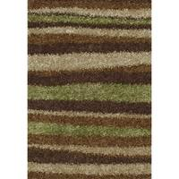 ADDISON Miramar Modern Stripe Brown/Green Shag Area Rug (9'X13')