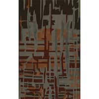"""ADDISON Zenith Artistic Abstract Spice/Brown Area Rug  (3'6""""X5'6"""")"""